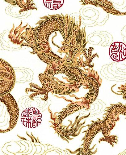 Fire-Breathing Dragons: White/Gold Metallic Asian Japanes...