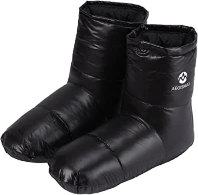 WIND HARD Botas de invierno con plumas y calcetines cálidos, suaves y acogedores, para acampar al aire libre, saco de dormir, para interiores y exteriores, con relleno de plumón, botas ultraligeras, 3 tamaños para hombres y mujeres