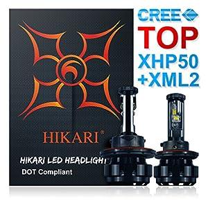 HIKARI LED Headlight Bulbs Conversion Kit -H13/9008,TOP CREE (XHP50+XM-L2) 9600lm 6K Cool White Adjustable Beam,2 Yr Warranty