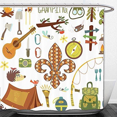 180X 180CM Spanish House Print Polyester Fabric Shower Curtain - 3