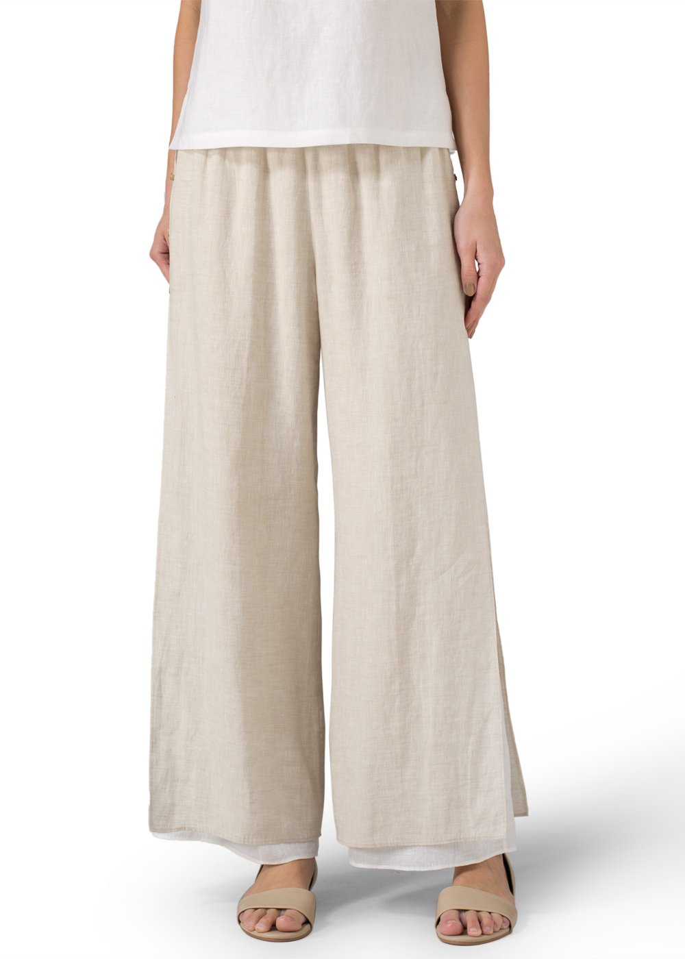 Vivid Linen Double Layers Pants With Sea Shall Button-M-Oat/Off White by Vivid Linen