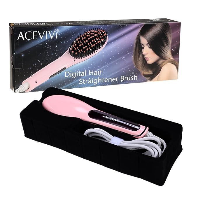 Cepillo de pelo alisado de Peine Plancha de pelo, calefacción de cerámica ACEVIVI Cepillo de alisar Irons con Digital Anti estático, antiescaldaduras.