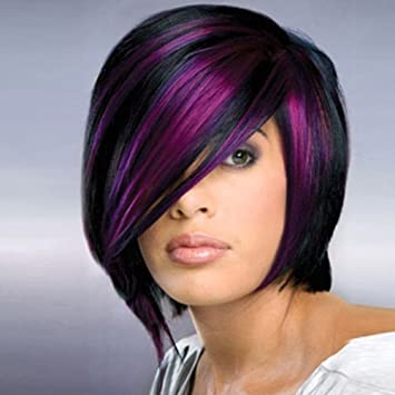 Amazon Com Beron Short Straight Bob Wig Mix Color Highlight Purple