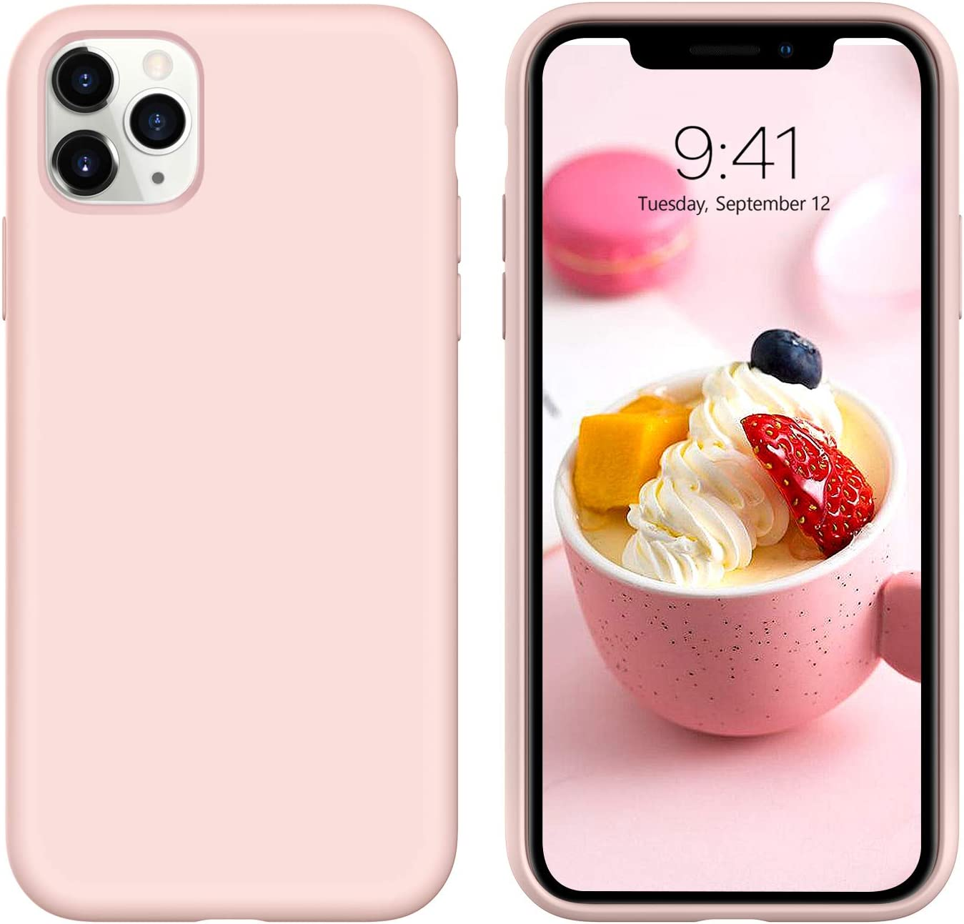 """iPhone 11 Pro Max Case, DUEDUE Liquid Silicone Soft Gel Rubber Slim Cover with Microfiber Cloth Lining Cushion Shockproof Full Body Protective Case for iPhone 11 Pro Max 6.5"""" 2019,Pink Sand"""