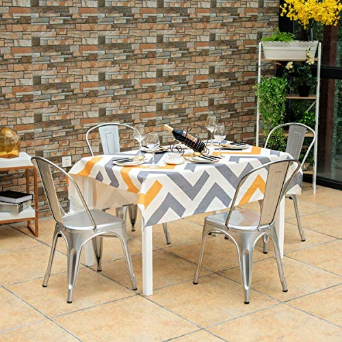 Costway Tolix Style Dining Chairs Metal Industrial Vintage Chic High Back Indoor Outdoor Dining Bistro Caf Kitchen Side Stackable Chair Set of 4 Silver
