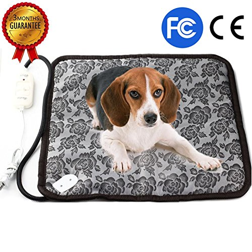 Pet Heating Pad, Dog Cat Electric Heating Pad Waterproof Adjustable Warming Mat with Chew Resistant Steel Cord 17.7'x17.7'