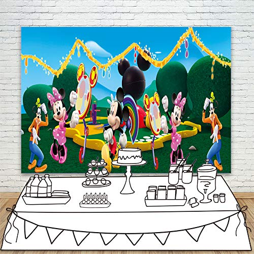 Background Backdrop 7x5ft Cartoon Wonderland Mickey Mouse Clubhouse Photo Backgrounds Vinyl Seamless Photo Backdrop Paper for Happy Birthday Party Kids Photos -