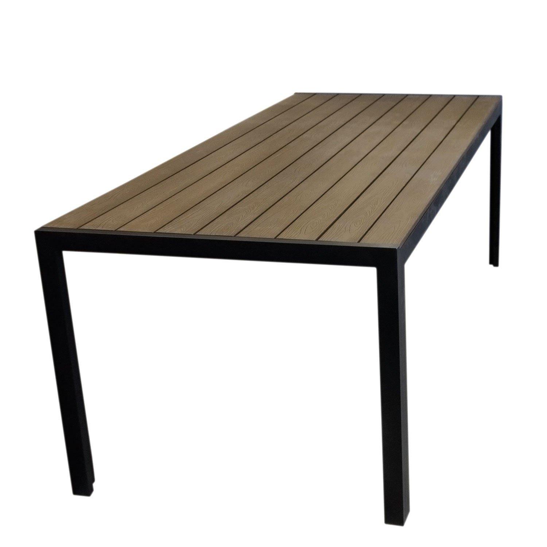 Aluminium Gartentisch mit robuster Polywood Tischplatte, Holzprägung - 205x90cm / Balkonmöbel Terrassenmöbel Gartenmöbel Terrassentisch - Schwarz / Braun