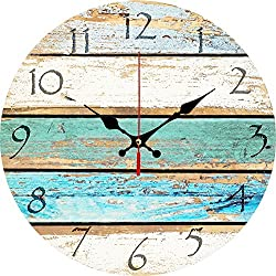 "12"" Round wall clock with Shabby Chic Beach Decor, Weathered Beachy Design ,Ocean Colors Old Paint Boards Rustic Mediterranean Style Wooden Decorative Round Wall Clock (Sky)"