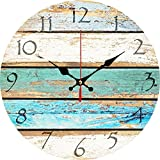 Grazing 12'' Vintage Arabic Numerals ,Shabby Beach, Weathered Beachy Boards Design ,Ocean Colors Old Paint Boards Printed Image, Rustic Mediterranean Style Wooden Decorative Round Wall Clock (Sky)