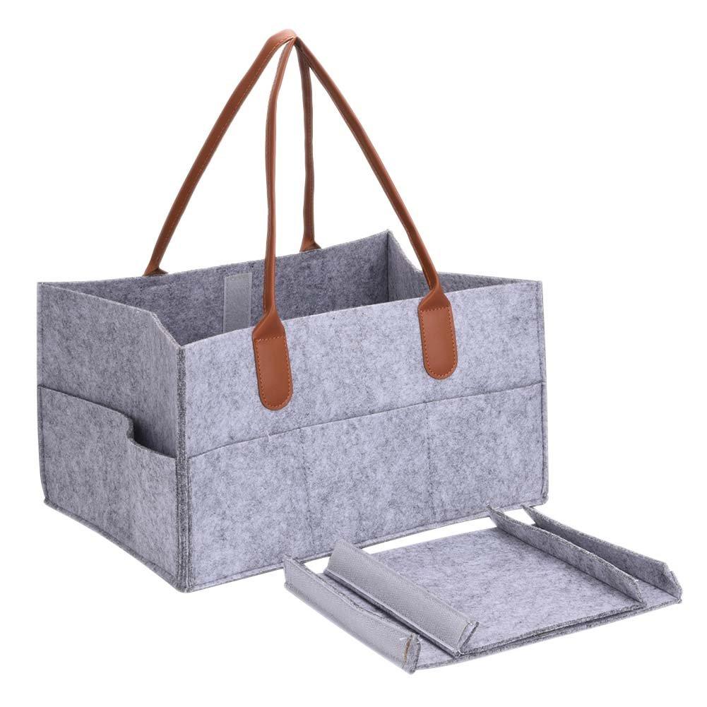 Diaper Caddy Bag portatif Chambre Bac à Rangement Chambre d'enfant de stockage Sac Lingettes pour bébé avec compartiments interchangeables gris Yunhigh