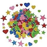 Koogel Foam Glitter Stickers,350 Pcs Self-Adhesive Foam Stickers Mini Heart&Star Shape for Kid's Arts Craft Supplies Greeting Cards Home Decoration