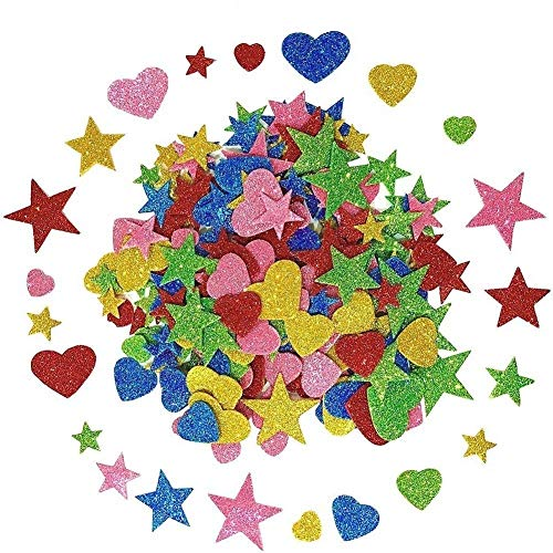 Koogel Foam Glitter Stickers,350 Pcs Self-Adhesive Foam Stickers Mini Heart&Star Shape for Kid's Arts Craft Supplies Greeting Cards Home Decoration