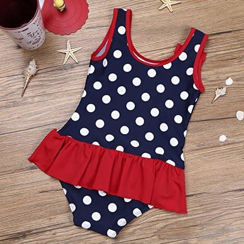 dPois Baby Girls Polka Dots Ruffle Hem Swimsuit Bikini Skirt Set Swimwear One-Piece Bathing Suit