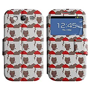 AADes Scratchproof PU Leather Flip Stand Case Samsung Galaxy S3 III i9300 ( Evil Cat )