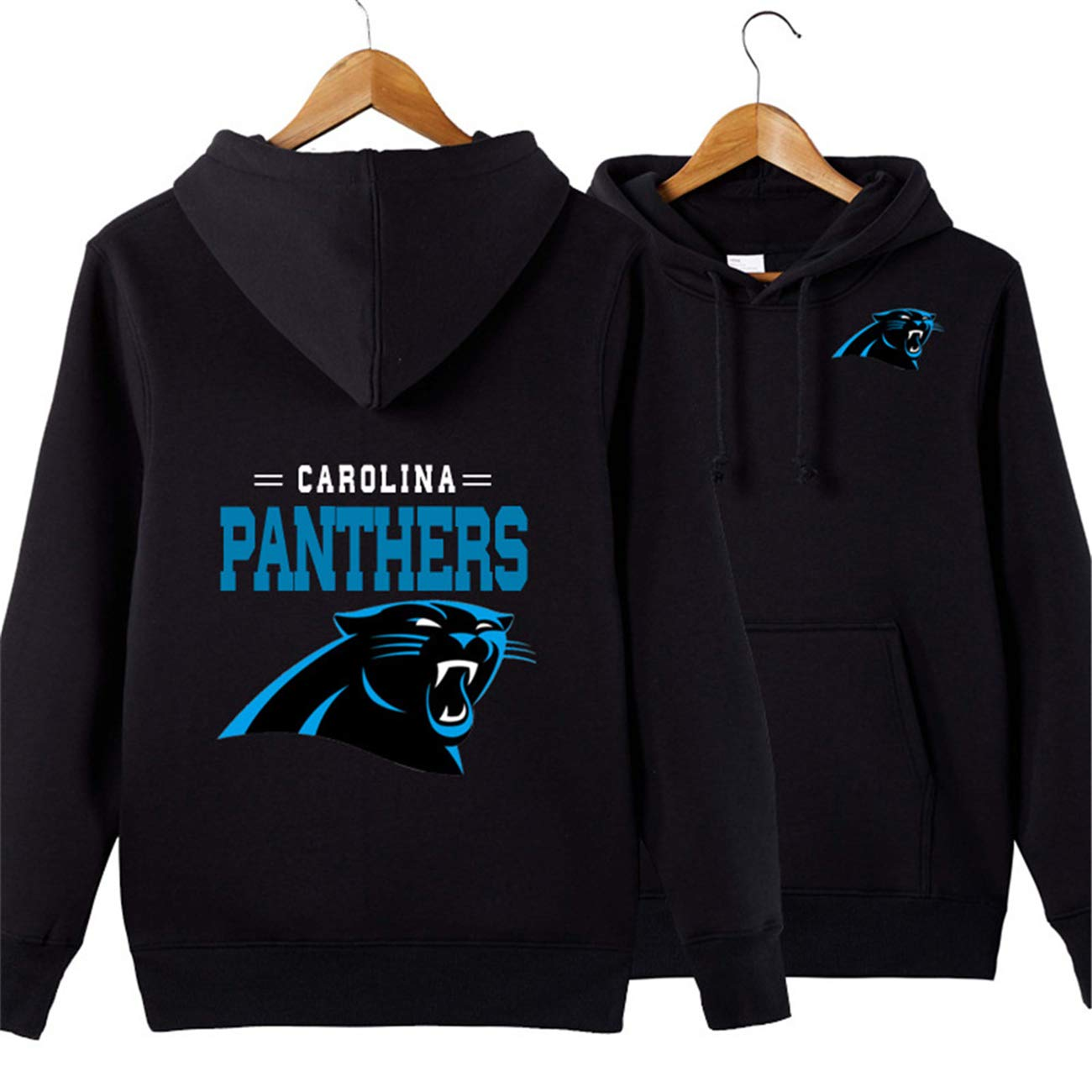 new styles 1e8cb 589f8 Men's Long Sleeve Hooded Letters Print Carolina Panthers Football Team  Solid Color Pullover Hoodies