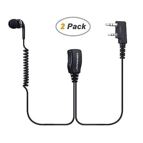 2 Pin G-Shape Headset PTT Mic Earphone for Baofeng Walkie Talkie Radio Brown