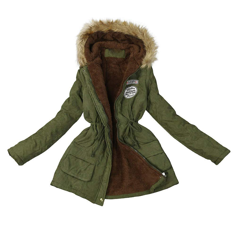 CHIDY Women's Fleece Cotton Military Parka Solid Casual WinterFur Hooded Warm Coat Outwear Jacket(Large,Army Green) by CHIDY