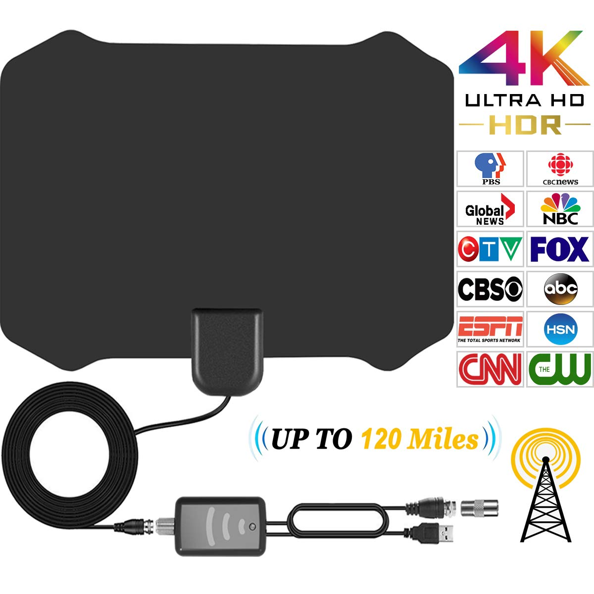 TV Antenna HD Indoor HDTV Antenna for Digital TV With 120 Miles Long Range Support 4K 1080p & All Older TV's With Powerful Detachable Amplifier Signal Booster, Power Adapter and Longer Coax Cable [2018 Upgraded] Papakoyal Direct