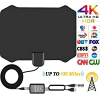 TV Antenna HD Indoor HDTV Antenna for Digital TV With 120 Miles Long Range Support 4K 1080p & All Older TV's With Powerful Detachable Amplifier Signal Booster, Power Adapter and Longer Coax Cable [2018 Upgraded]