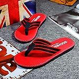 Anxinke Men's Striped Flip Flops Summer Slipper Shoes (10, Red)