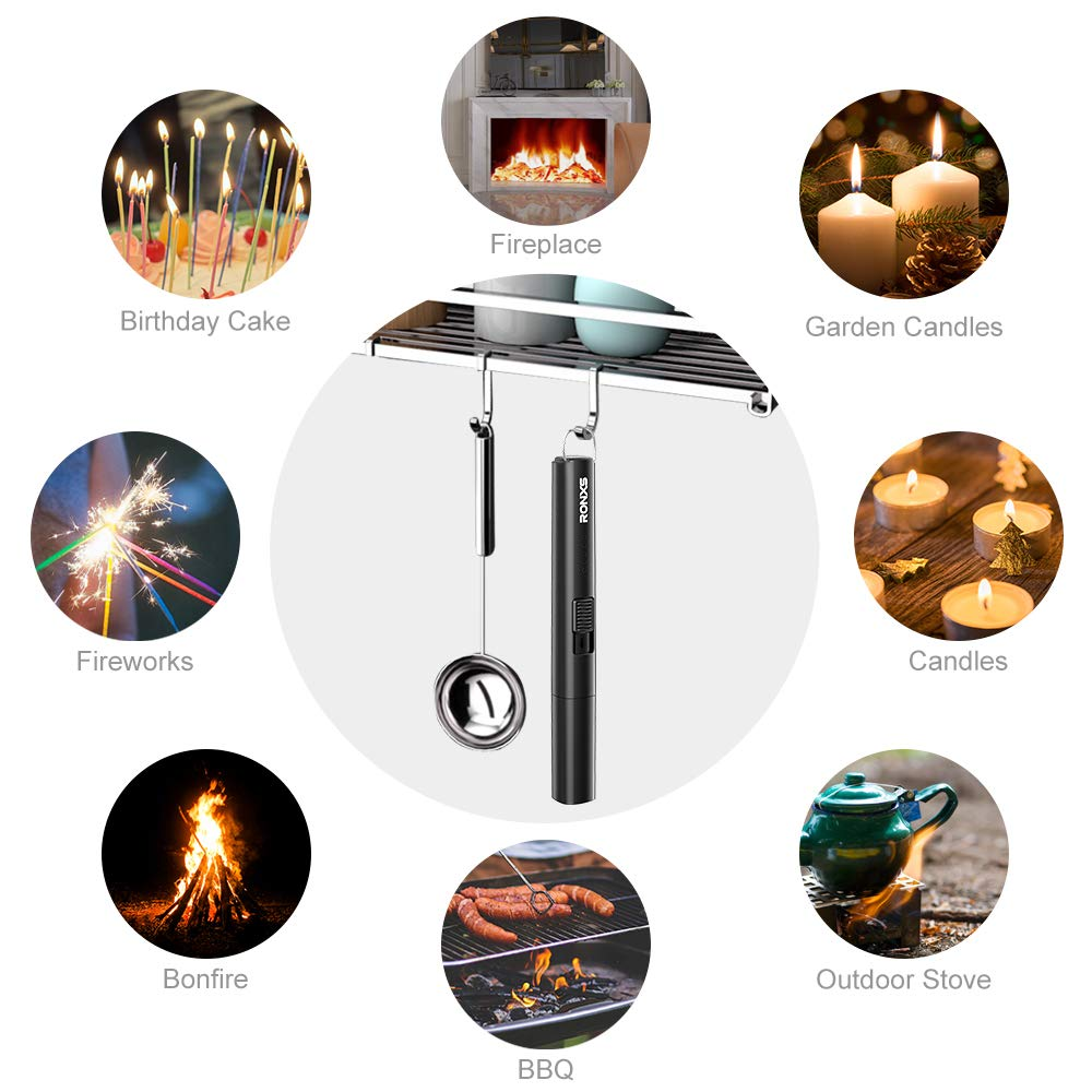 RONXS Lighter, Candle Lighter with Safety Design Cover, Battery Indicator Camping Lighter Windproof Portable 7IN Low Noise USB Plastic Lighter with Safety Switch/Hanging Hook for Candle Cooking BBQ