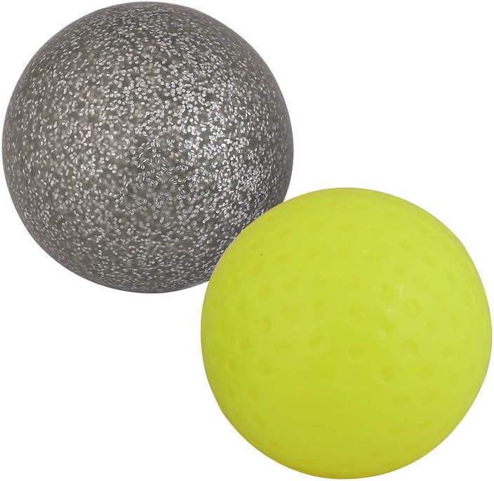 Yellow, White Kosma Set of 2 Dimple Hockey BallsPVC Practice Training Ball