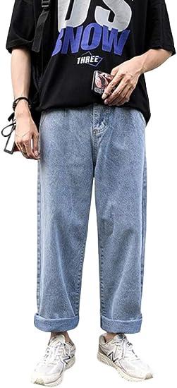 [ICHAIN]デニムパンツ メンズ ジーパン ジーンズ ゆったり ワイドパンツ ストレート 美脚 カジュアル オールシーズン デニム