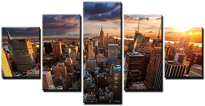 New York City Skyscrapers 5 Pieces Canvas Wall Art Poster Print Home Decor