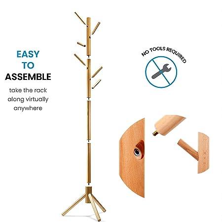 Amazon.com: Perchero de madera con 8 ganchos de montaje ...