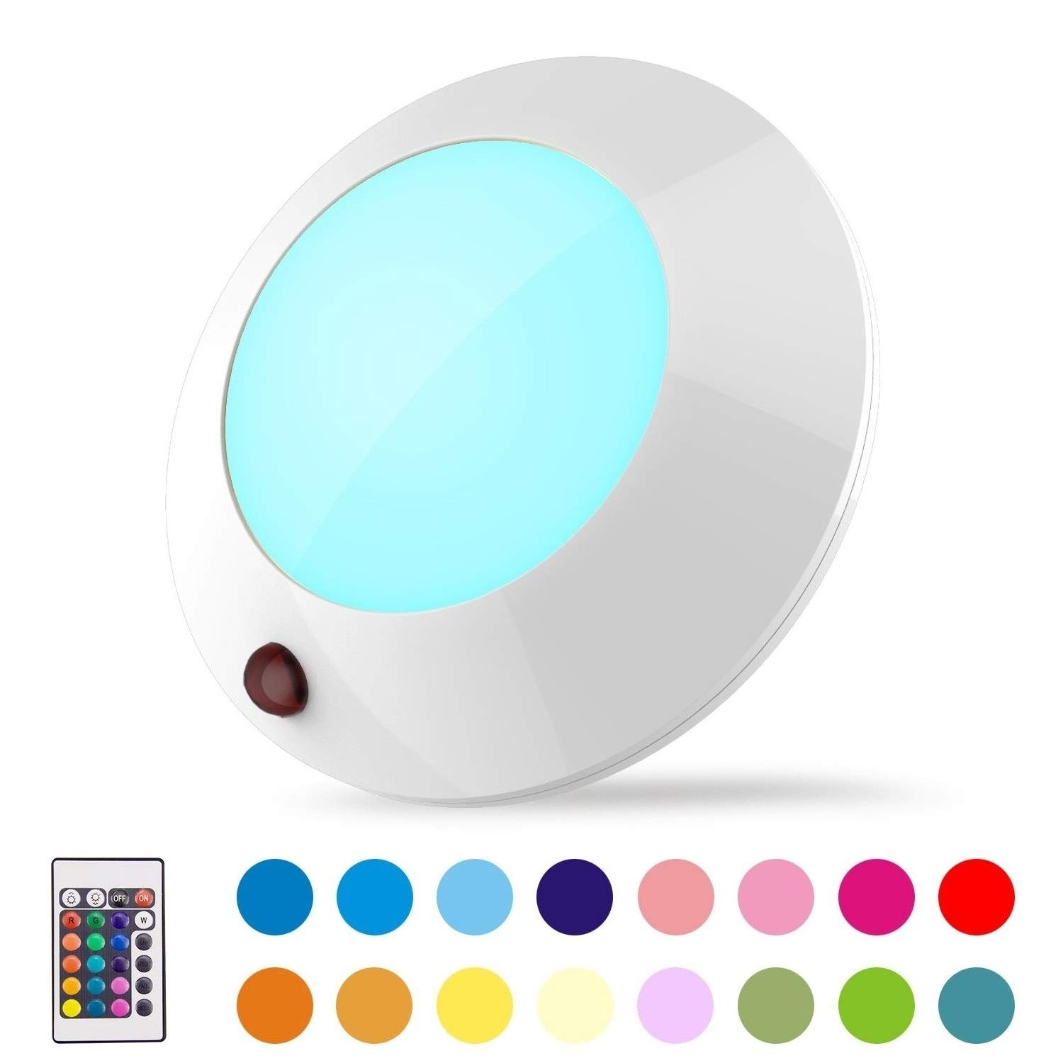 BIGLIGHT Battery Operated LED Ceiling Light Indoor/Outdoor, Color Changing Lights, Remote Controlled, Wireless Light for Hallway Shower Shed Closet Hall Corridor Bedroom Bathroom Mood Lighting, 5 Inch