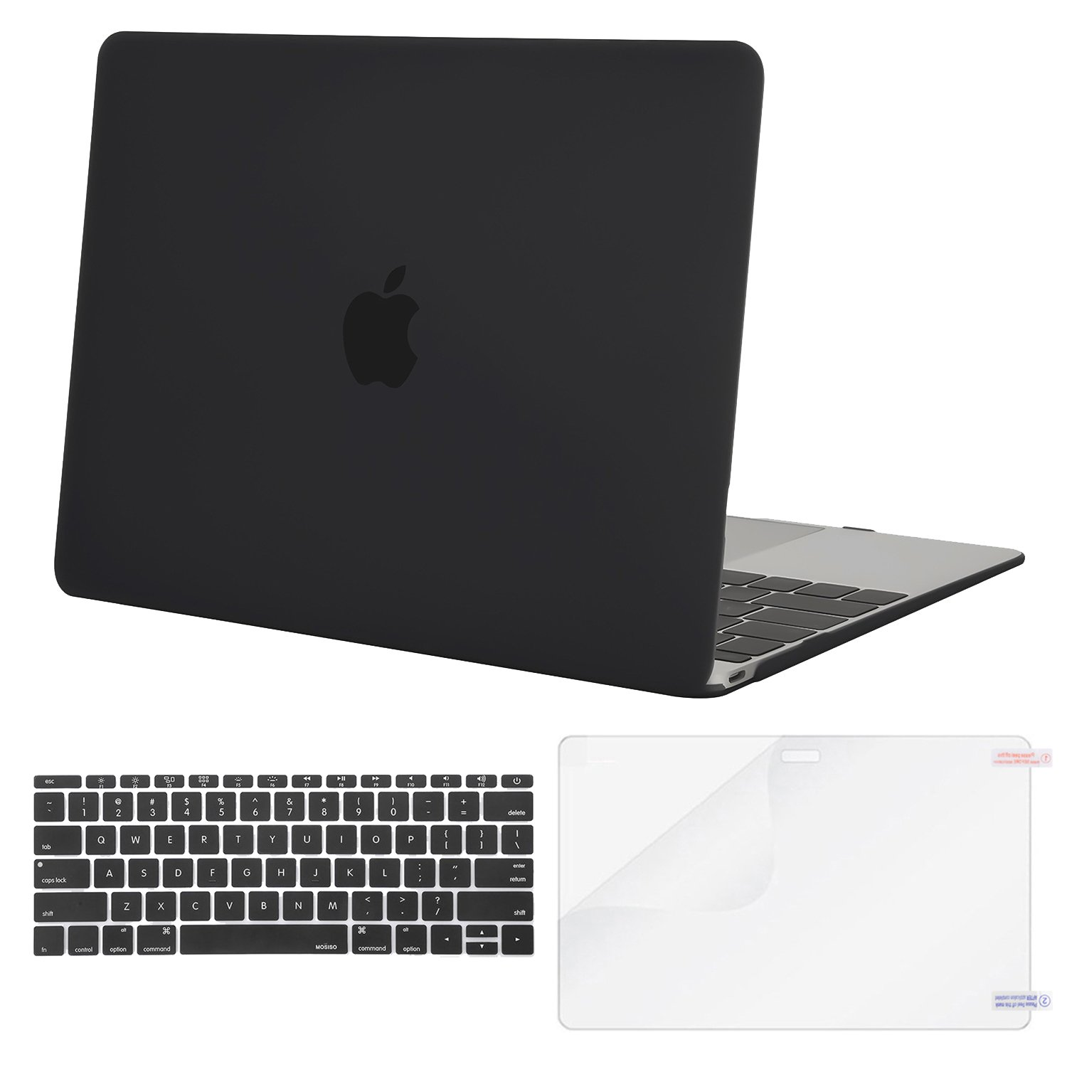 MOSISO Plastic Hard Shell Case & Keyboard Cover & Screen Protector Compatible MacBook 12 Inch Retina Display A1534 (Newest Version 2017/2016/2015), Black