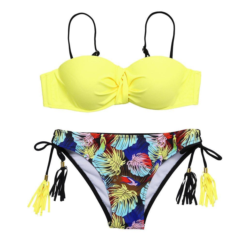 ♖Loosebee♜ Fringe Swimsuits for Women 2 Piece Sling Swimsuit Bathing Suit Cover Ups Slim Fit Bohemian Printed Bikini