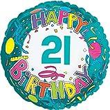 Creative Converting CTI Mylar Balloons, Happy Birthday 21, 17'', Multicolored pack of 5