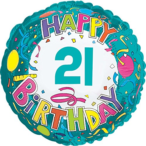 Creative Converting CTI Mylar Balloons, Happy Birthday 21, 17'', Multicolored pack of 5
