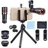 APEXEL Kit objectif 4 en 1 Universel 12X Téléobjectif + Objectif Fisheye Supreme 198 ° + Macro 15x + Grand Angle 0.63X pour iPhone 7 SE, 6 6s, Huawei P8 P9, Galaxy S7 S6, HTC, Sony Xperia etc
