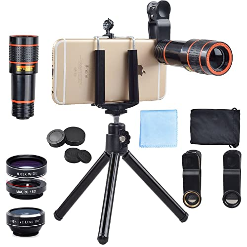 APEXEL 4 In 1 Clip-On Phone Lens Kit,12X Telescope Camera Lens+198 Degree Fisheye Lens + 0.63X Wide Angle&15X Macro Lens with Mini Tripod for iPhone Samsung Huawei and most Android Smartphone, Black