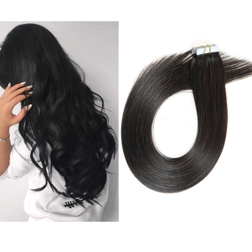 TheFashionWay Brazilian Human Hair Extensions Tape in Silky Straight Weft Remy Virgin Hair (24 inches, #1) by TheFashionWay