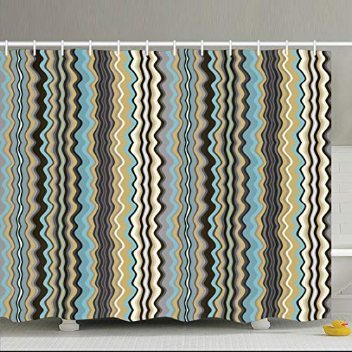 AileenREE Shower Curtains 72 X 72 Inches Style Wavy Oceanic Missoni Tape  Waterproof Mildew Resistant Decor Bathroom Curtain Set With Hooks