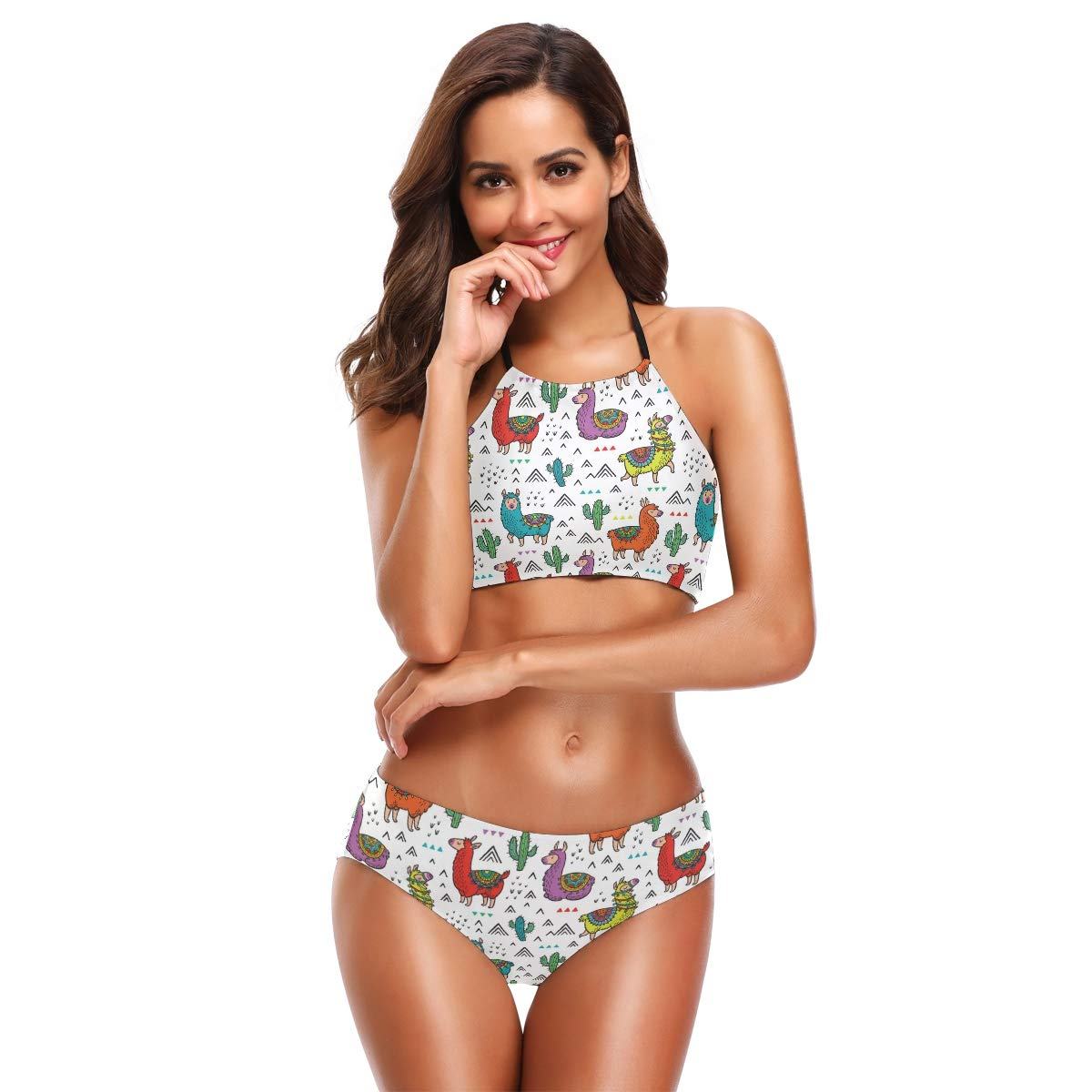 37f2a112acaac Amazon.com  TropicalLife Cute Animal Llama Cactus High Neck Halter Bikini  Sets Swimsuit Bathing Suits for Teen Girls Women Ladies  Clothing
