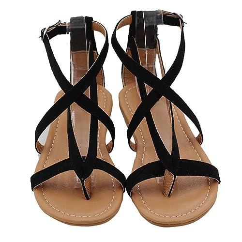 Styledress Damen Sandalen Frauen Sommer Rom Binden Sandalen Damen Zehentrenner Peep Toe Flache Flip Flops Schuhe...