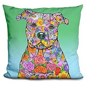 LiLiPi Flowers Pitbull Decorative Accent Throw Pillow