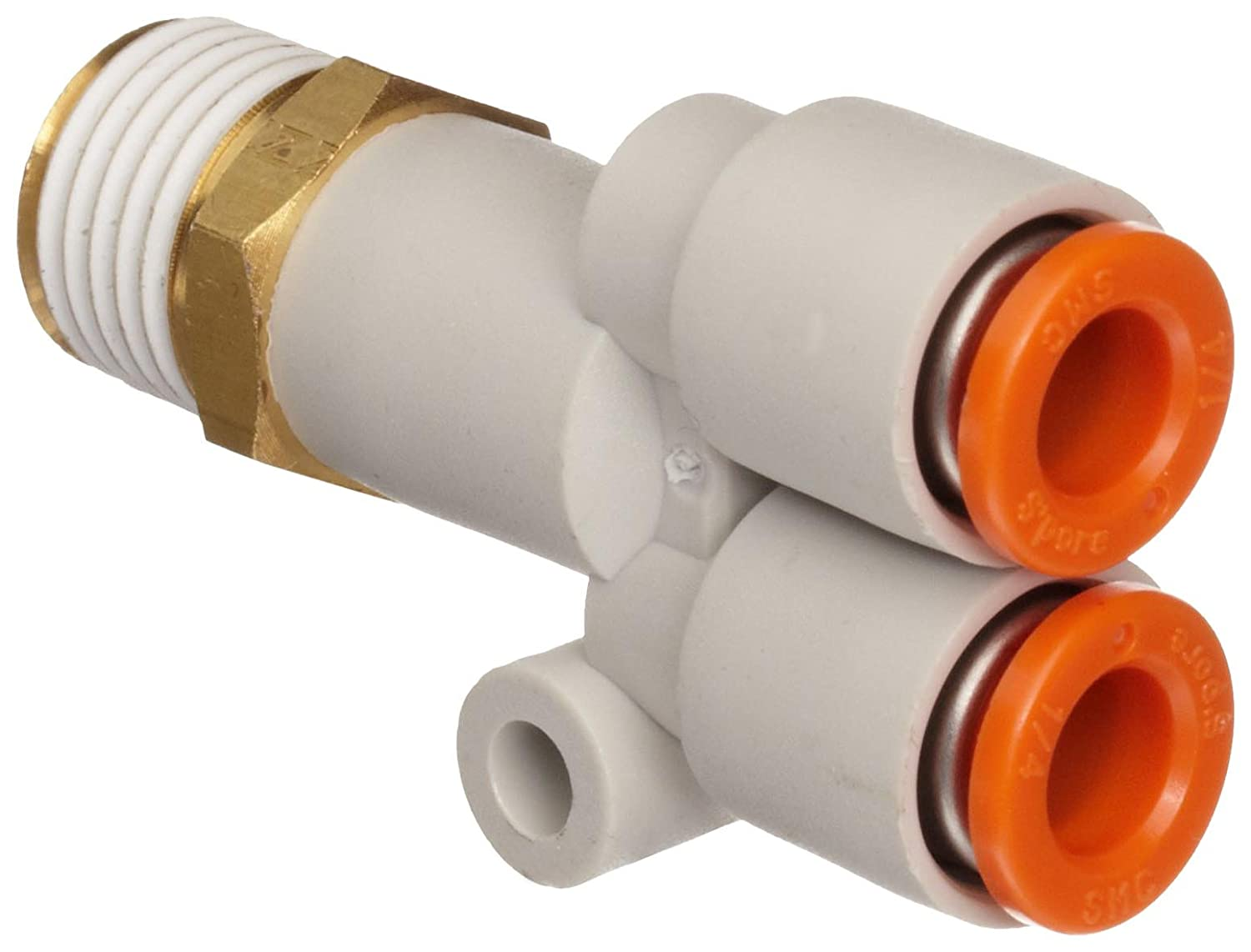 SMC KQ2U07-35AS PBT /& Brass Push-to-Connect Tube Fitting with Sealant 1//4 Tube OD x 1//4 NPT Male Branch Wye