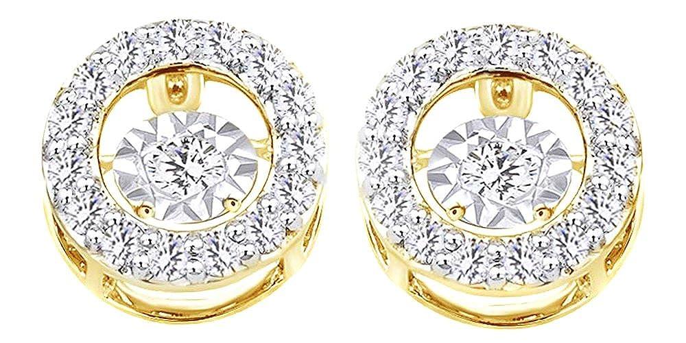 0.9 cttw, rund, Weißszlig;, Dancing Diamant-Ohrstecker in 14 kt 585, Weißszlig;Gold 14 Karat (585) GelbGold
