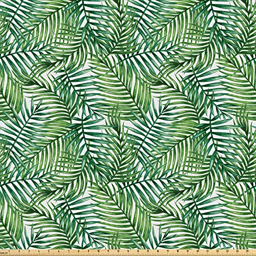 Ambesonne Leaf Fabric by The Yard, Watercolor Print Botanical Wild Palm Trees Leaves Ombre Design Image, Microfiber Fabric for Arts and Crafts Textiles & Decor, 1 Yard, Dark Green and Forrest Green