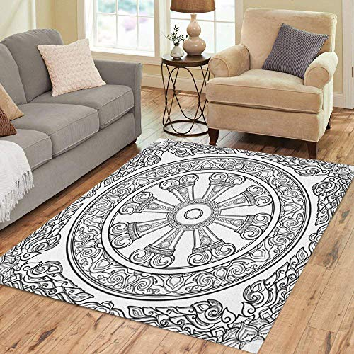 Semtomn Area Rug 3' X 5' Dharma Wheel Dharmachakra Symbol of Buddha Teachings Path Home Decor Collection Floor Rugs Carpet for Living Room Bedroom Dining Room