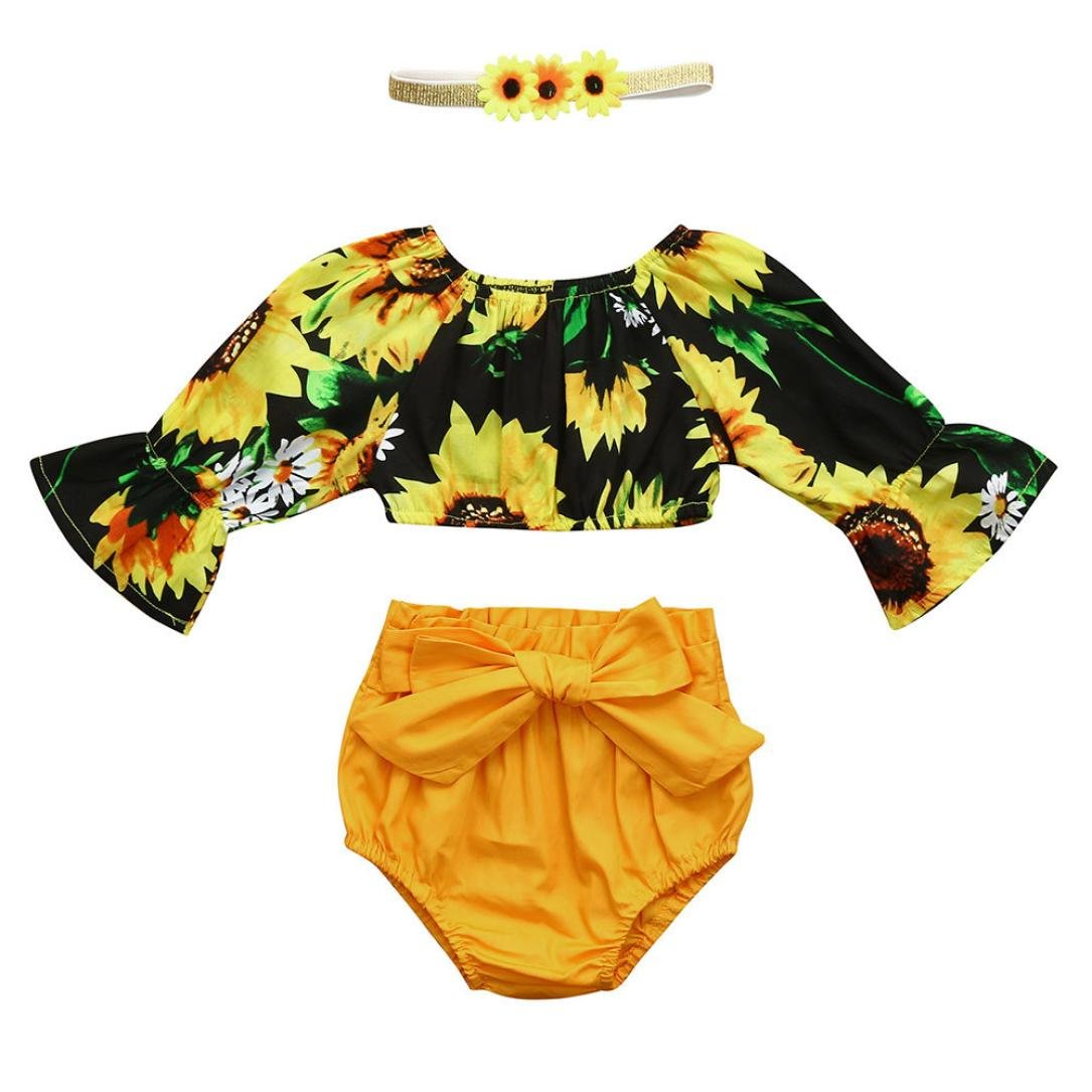 Vincent& July 3pcs Baby Girls Sunflower Ruffle Tops +Yellow Shorts+Headband Set