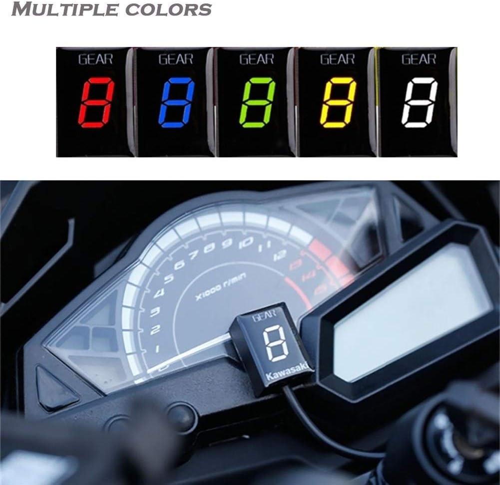 Color : White Ganganzeige Ganganzeige Anzeige for Kawasaki ER6N Z1000SX Ninja300 Z1000 Z800 Z750 Versys 650 Z400 Motorrad ECU Direct Mount 1-6 Geschwindigkeit