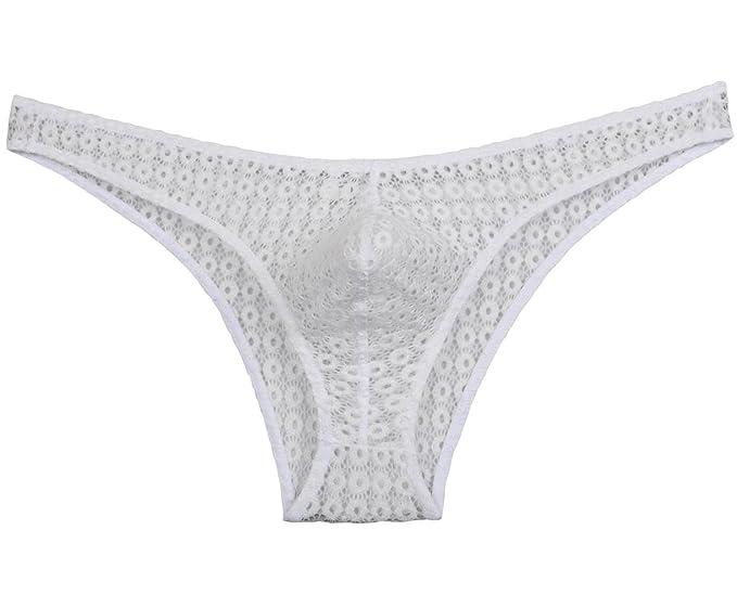 Hombres Hollow Bikini Slip Agujeros Encaje Mini Breve Ropa Interior Sexy Guy Jacquard shortpants Blanco Blanco
