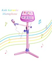 Kids Karaoke Microphone Musical Toys - Earsoon Adjustable Stand Karaoke Machine with Pink External Music Function & Flashing Lights for Kids